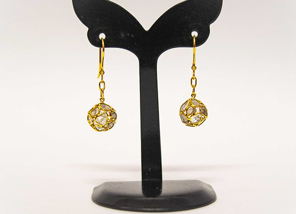18K Gold Earring with Diamond Balls