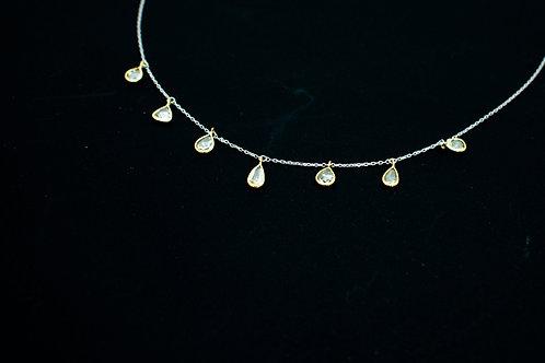 Dual tone rose cut diamond necklace
