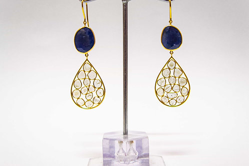 Blue Sapphire and Diamond cluster Earrings