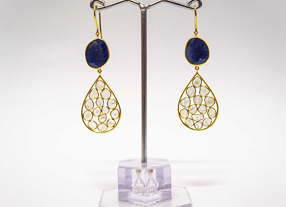 18K Gold Earring with Blue Sapphire and Cluster Diamond