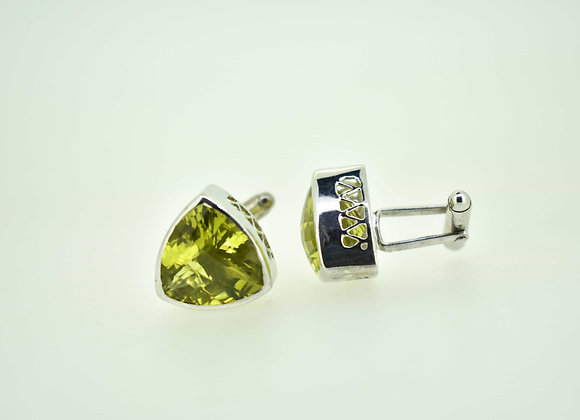 Bold Lemon Quartz Cufflinks in 925 Silver