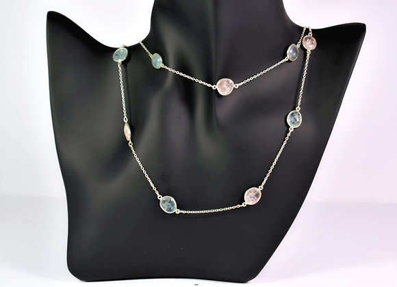 Sparkling 925 Silver Chain with rich Morganite and Aquamarine
