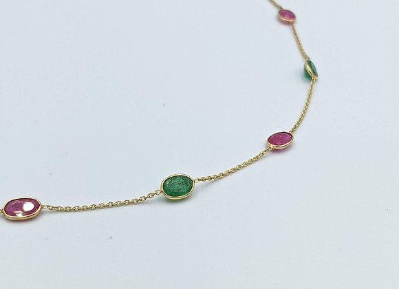 Emerald and Ruby Lightweight Bezel Chain