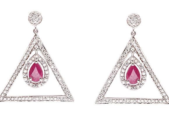 Dangling Ruby Earrings in 925 Silver
