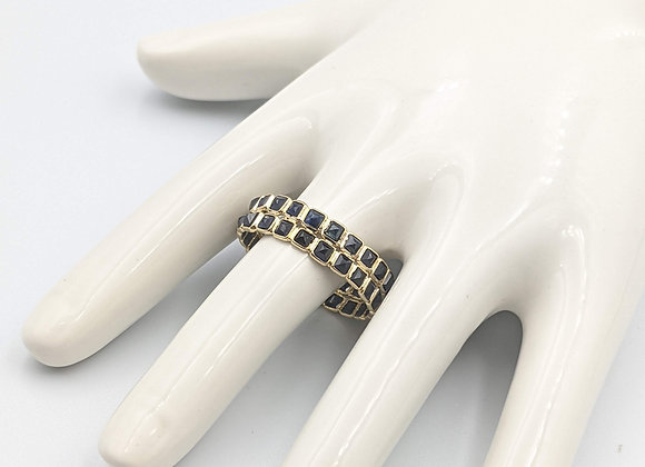 Double Layer Blue Sapphire Eternity Band