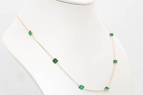 Rich Emerald Necklace with ultra-light Japanese Gold Chain
