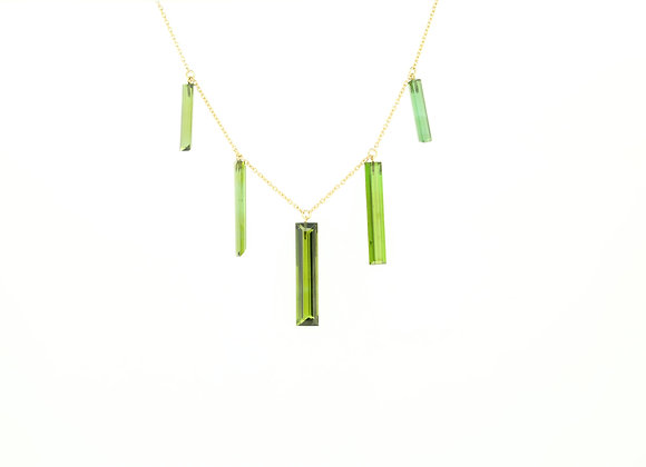 Minimalist Green Tourmaline Necklace 18K Gold