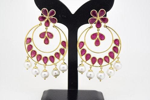 Dainty Indian Pattern Earrings with Ruby & Pearl Drops
