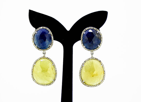 Premium Multi-Sapphire, and Diamond Earring in 925 Sterling Silver