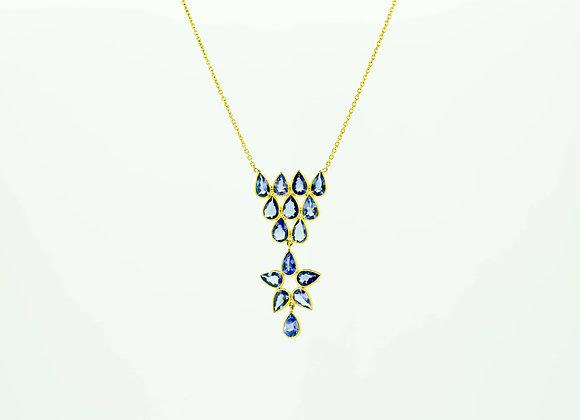 Modern Tanzanite Necklace in 18K Gold