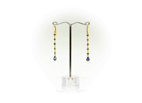 18K Gold Earring with Diamond and Tanzanite