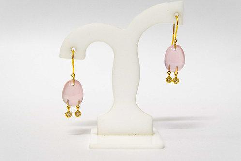 Rose Quartz tumble earrings with Diamond drops