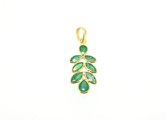 Leaf-design Emerald Pendant