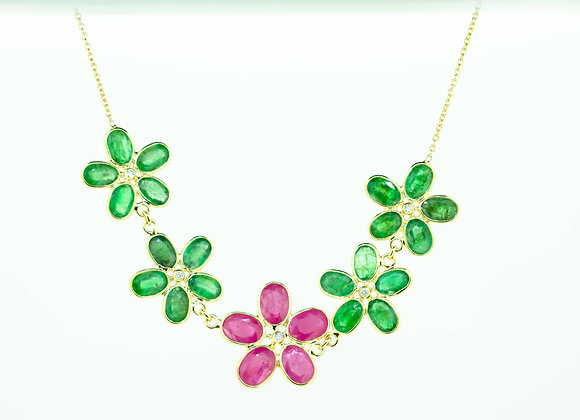 Flower pattern Necklace with Ruby, Emerald and Diamond in 18K Gold