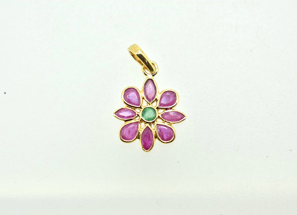 Flower Pendant with Ruby and Emerald in 18K Gold