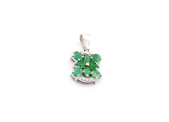 Lightweight Emerald Pendant in 925 Silver