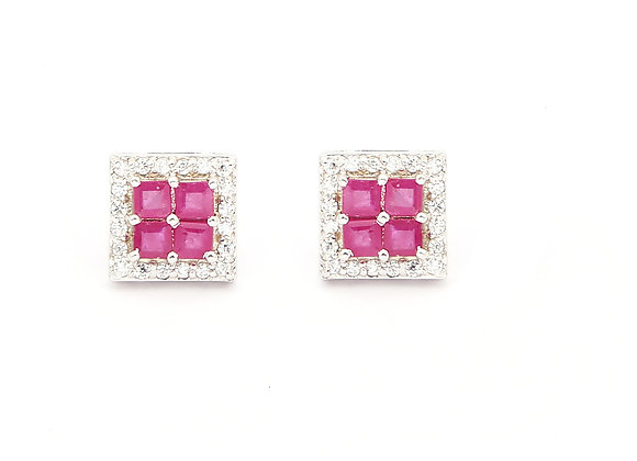 Square Cluster Ruby Earring in 925 Silver