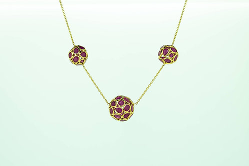Ruby Ball-Cluster necklace