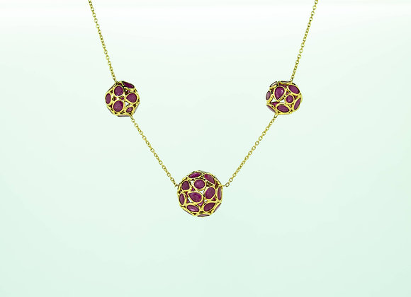 Ruby Ball-Clusters in 18K Gold
