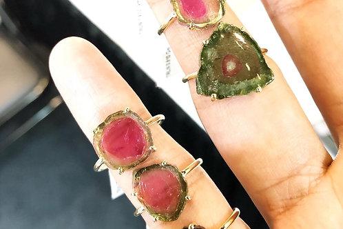 Watermelon Tourmaline Rings with Micro-pavé Diamonds!