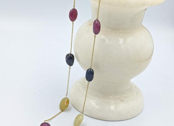 Beautiful Multi Sapphire Tumble Bezel Chain in 18K Gold