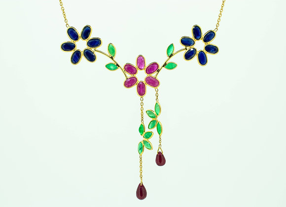 Beautiful multi-precious flower necklace with Ruby drops in 18K Gold