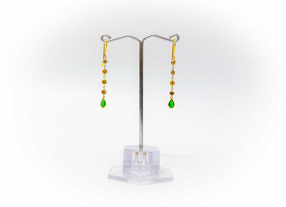 18K Gold Earring with Diamond and Emerald Drop