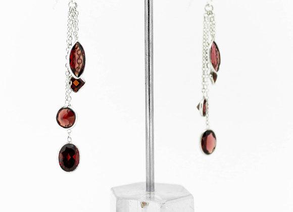 Garnet Drops Earring in 925 Sterling Silver