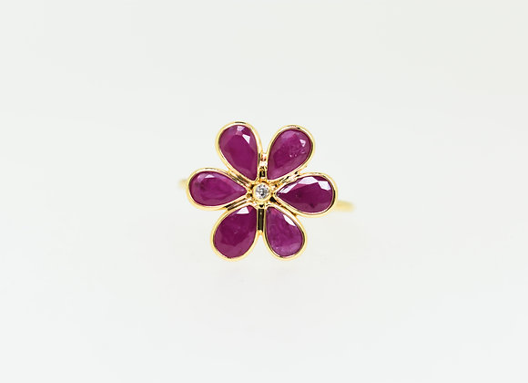 Flower Ring 18K Gold with Diamond and Ruby