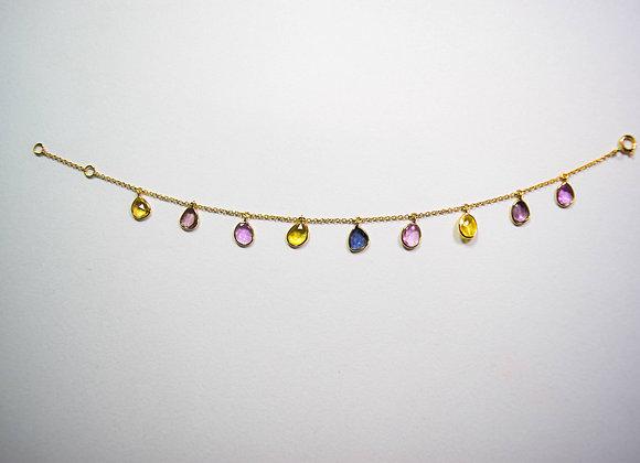 Minimalist 18K Gold Bracelet with Multi Sapphire