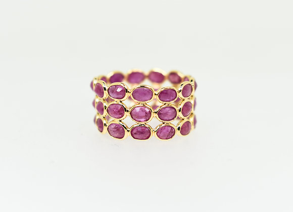 Tri-layer magnificent Ruby ring 18K Gold