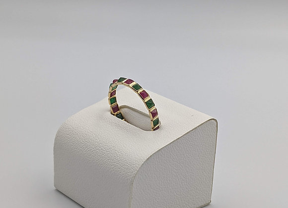 Square Ruby and Emerald Rich Eternity Band