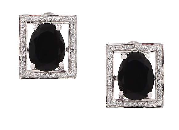 Black Onyx Square Earring with CZ in 925 Silver