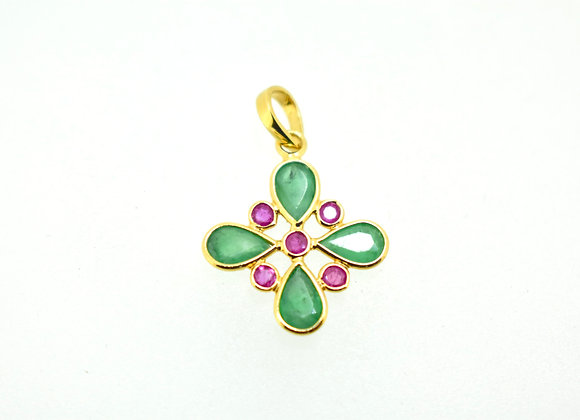 Emerald and Ruby Pendant in 18K Gold