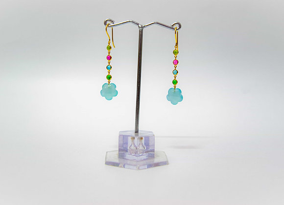 18K Gold Earring with Turmaline and Aquamarine drops