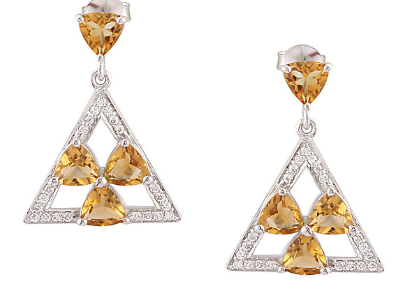 Trillion-shaped Citrine Earring with CZ in 925 Silver
