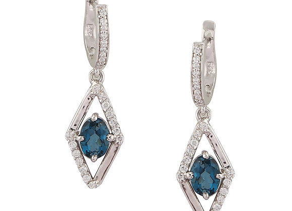 Lightweight Blue Sapphire Earrings in 925 Silver