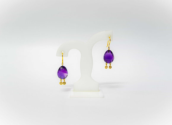 18K Gold Amethyst Earring with Diamond Drops