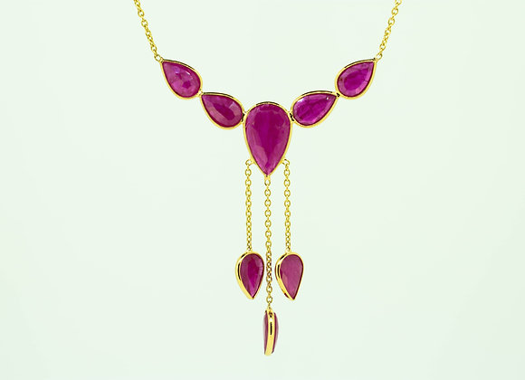 18K Gold Necklace with Ruby Drops
