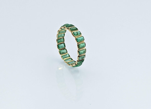 Emerald Baguette Stackable Eternity Band in 18K Gold