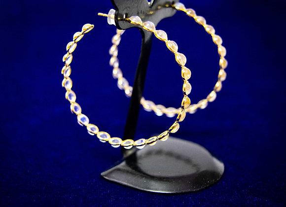 18K Gold Rainbow Moonstone Earring Hoops