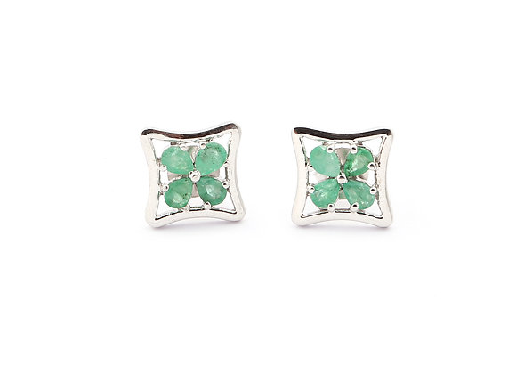 Square shaped Emerald Earrings in 925 Silver