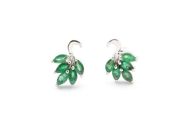 Peacock Emerald Earring in 925 Silver