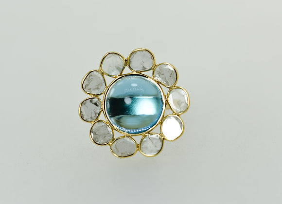 Rich Swiss Blue Topaz 18K Gold Ring with Diamond Polki