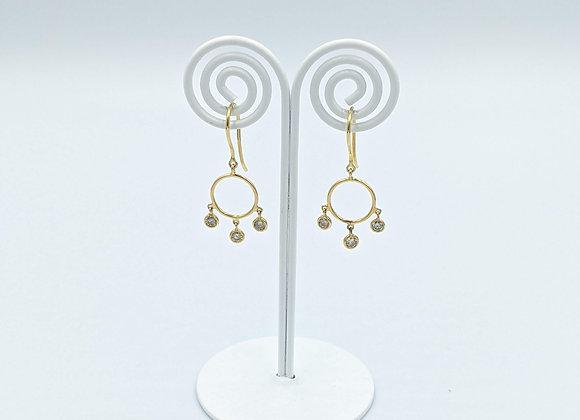 Disc Diamond Earring in 18K Gold