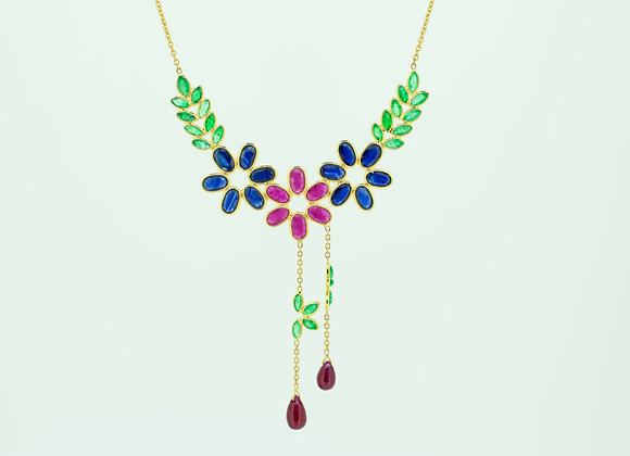 Multi-precious Necklace with Ruby Drops in 18K Gold