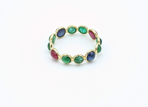 Stackable Ring in Emerald, Ruby, and Blue Sapphire