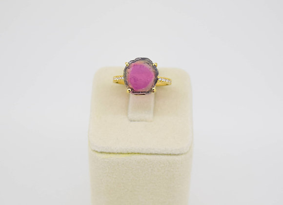 Beautiful Tourmaline Ring with Micro-pave diamond setting in 18K Gold