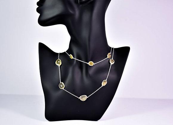 Golden Rhodolite Bezel Chain in 925 Silver