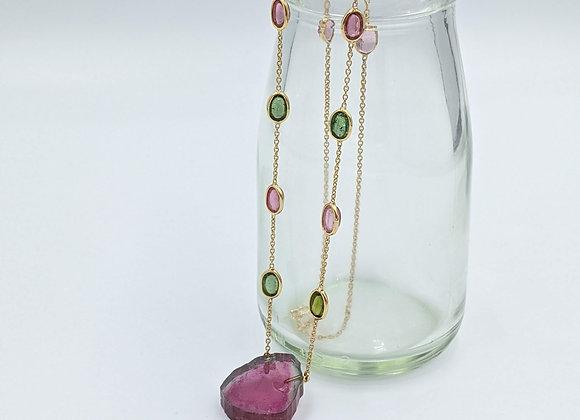 Watermelon Tourmaline Necklace in 18K Gold